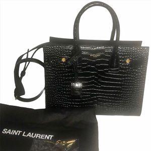 YSL Classic sac de jour baby in embossed Croc Bag